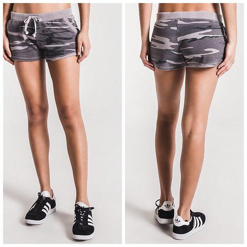 Grey camo jogger shorts