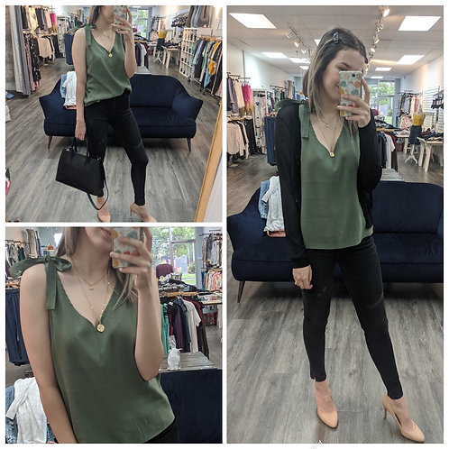 V neck tank top with should bow green
