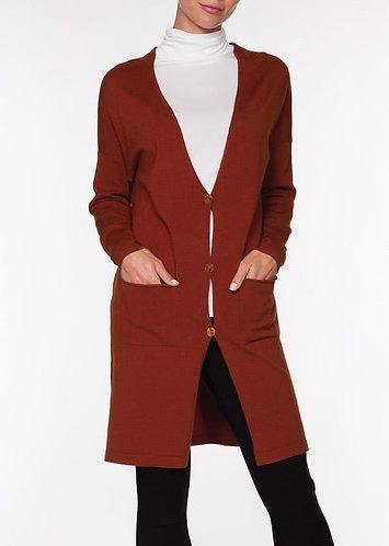 Alison Sheri Rust Long Button Down Cardigan