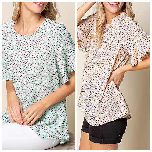Small print blouse with ruffle sleeve