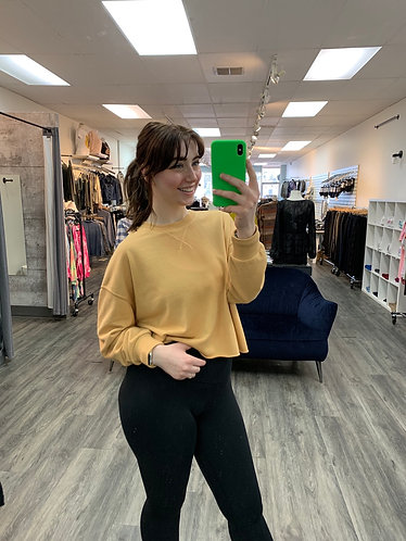 Z supply yellow terry sweater top