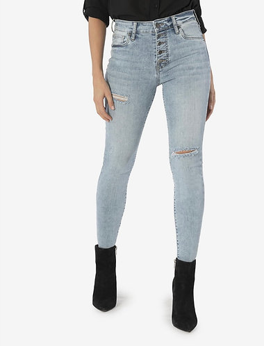 kut connie high rise button up ankle skinny