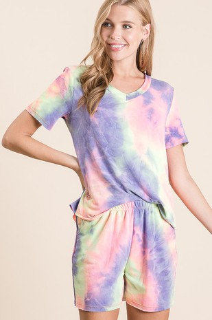 Tie dye Pajamas - pink, yellow, purple
