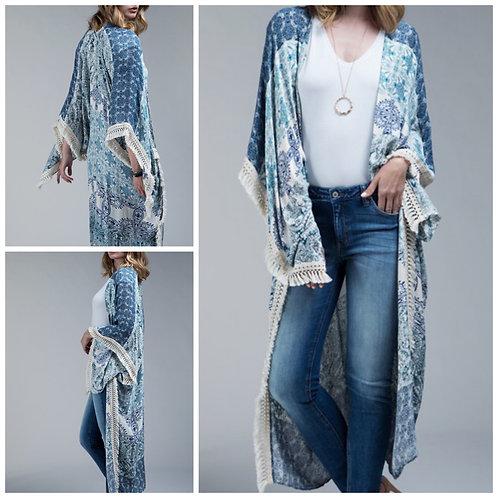 Long kimono navy/teal one size