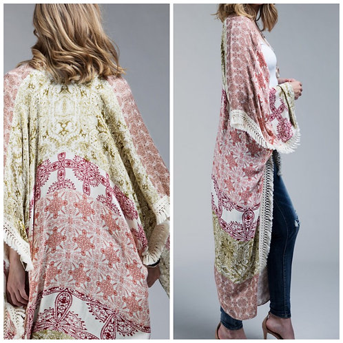 Long kimono rust/green one size