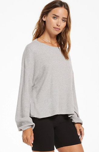 Z supply annie grey ribbed long sleeve