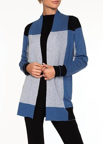 Alison Sheri Blue And Grey Block Cardigan