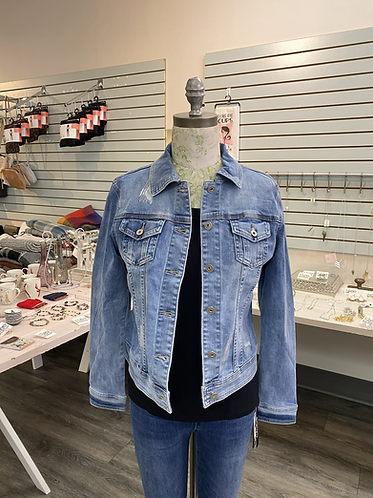 Blue denim jacket with sequins