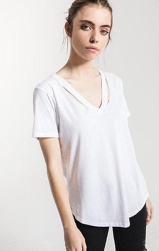 Distressed v neck t white