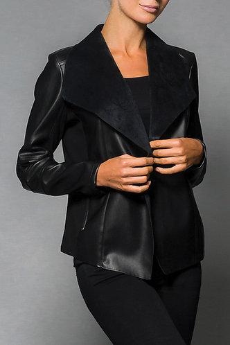 Elena Wang Faux Leather Cardi
