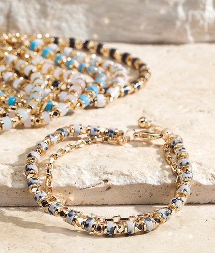 Dainty gold/natural stone bracelets