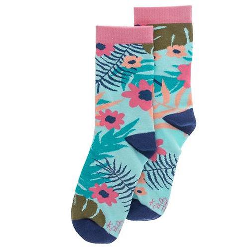 Blue Floral Socks By Karma