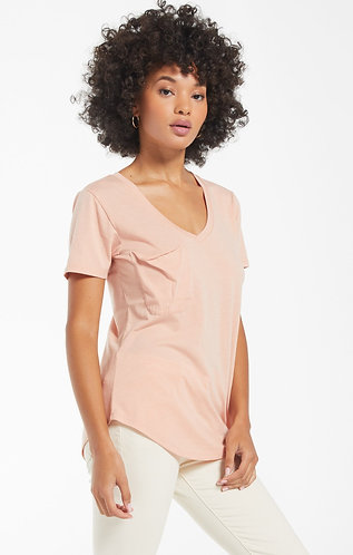 peach soft pocket tee