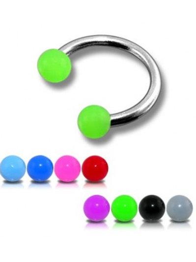 Surgical Steel horseshoe W/ colored acrylic balls