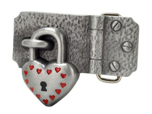Heart Padlock on Hinge Belt Buckle