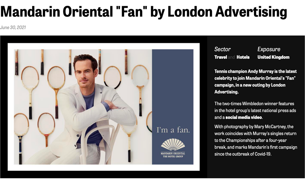 That's Andy - we've landed another fan of Mandarin Oriental