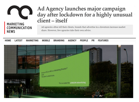Ad Agency launches major campaign day after lockdown for a highly unusual client – itself