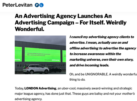 Advertising guru recommends LONDON Advertising to the world