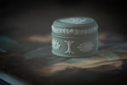 Green limoges ring box