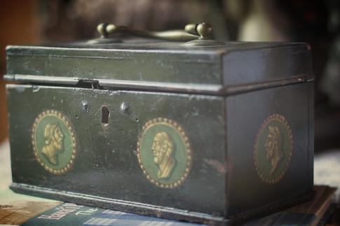 Antique metal keepsake box