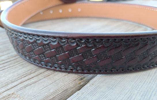 Tooled Brigantine belt cordovan 2.jpg
