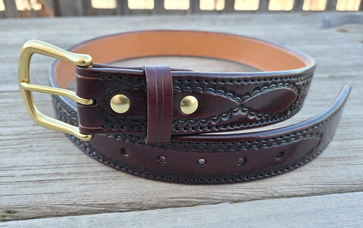 Tooled Brigantine belt cordovan 1.jpg