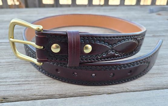 Tooled Brigantine belt cordovan 1.jpg