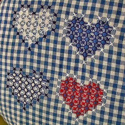 Віші - швейцарська вишивка по тканині в клітинку
