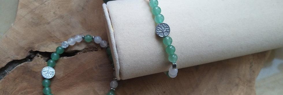 Bracelet Aventurine verte et agate blanche