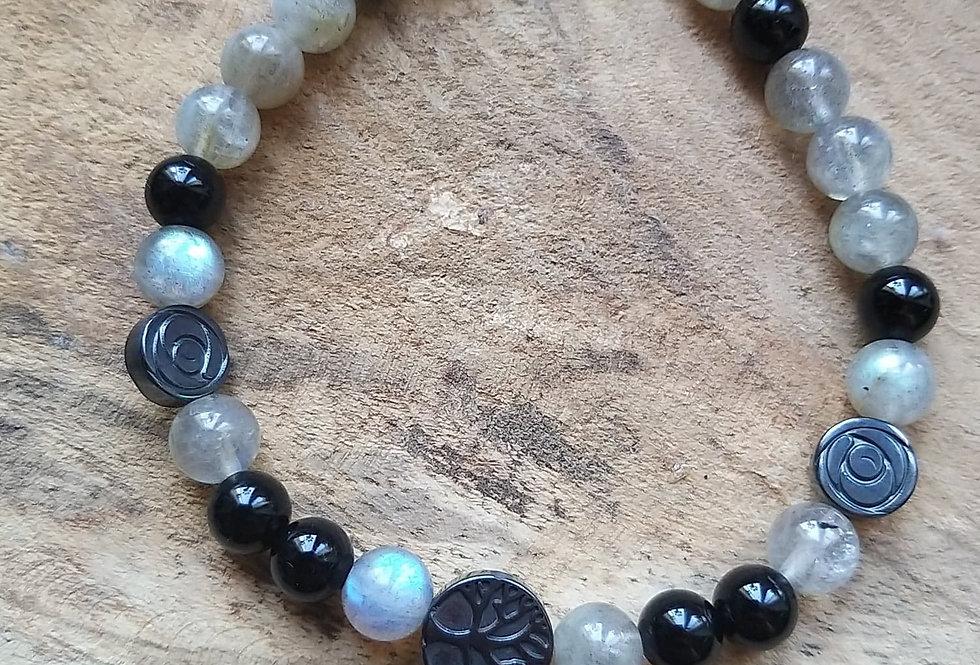 Bracelet Labradorite et Obsidienne noire