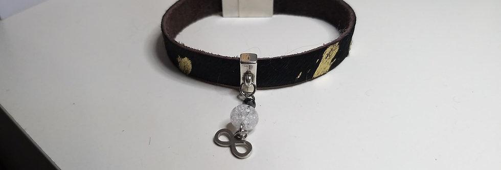 bracelet cuir cristal de roche et hématite