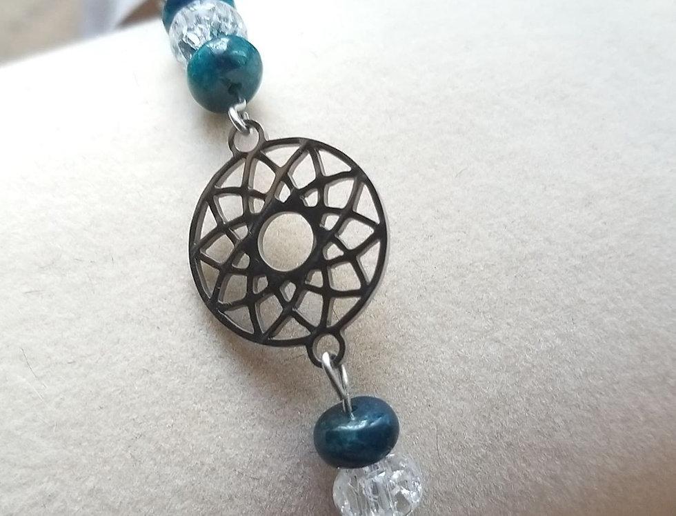Bracelet Apatite et cristal de roche