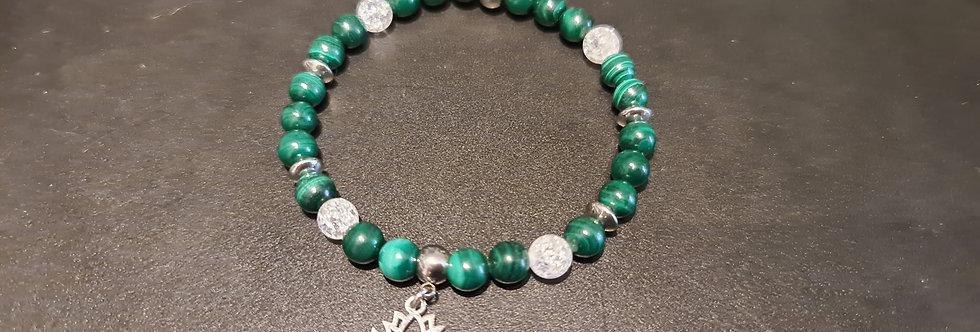 Bracelet malachite et cristal de roche