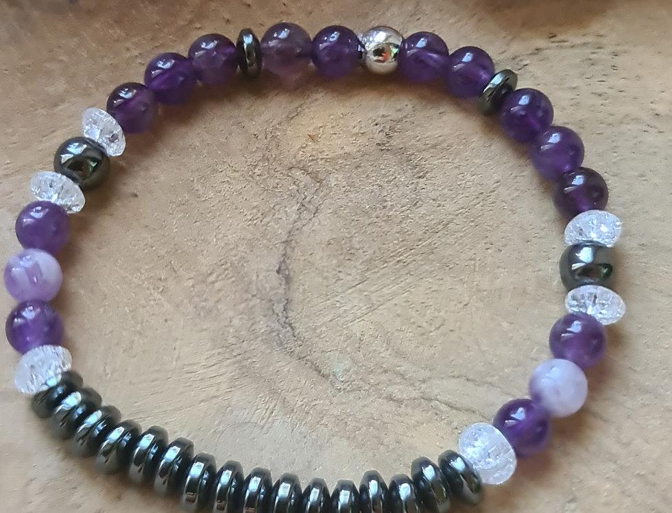 Bracelet améthyste, cristal de roche et hématite