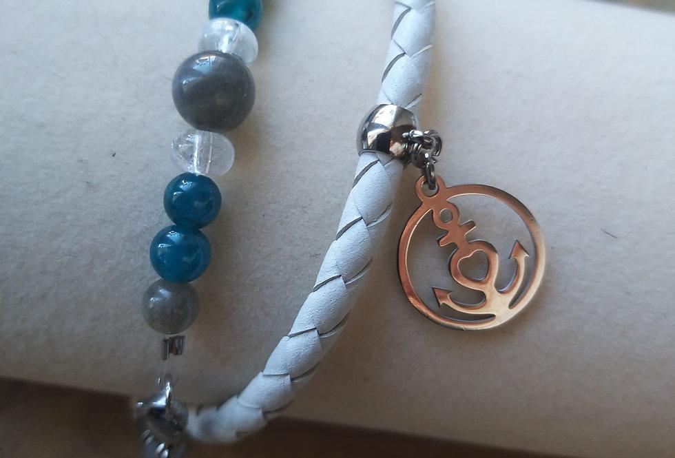 Bracelet labradorite, apatite et cristal de roche