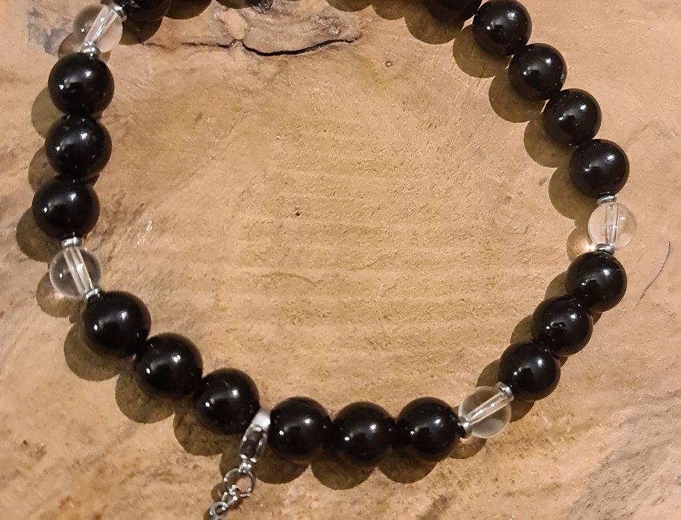 Bracelet homme cristal de roche  et tourmaline
