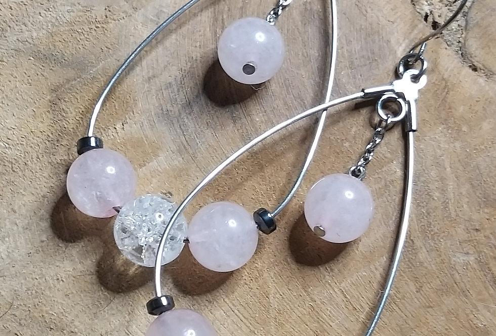 Boucles d'oreilles  quartz rose,cristal de Roche et hématite