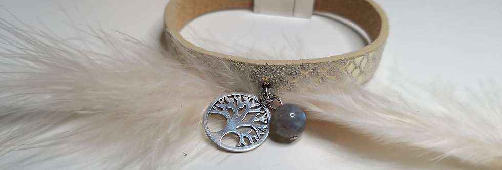 Bracelet cuir,  Labradorite et pendentif arbre de vie