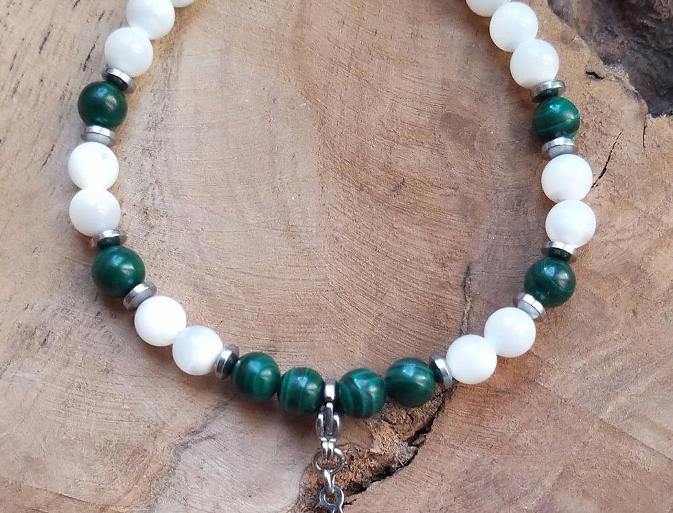 Bracelet Malachite et nacre