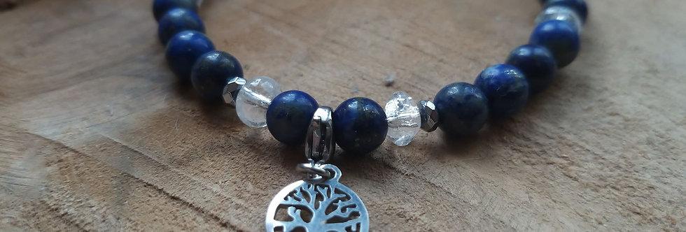 Bracelet Lapis lazuli et cristal de roche