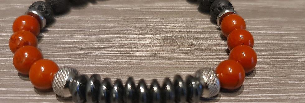 Bracelet homme Jaspe rouge/ Hématite/ Pierre de lave