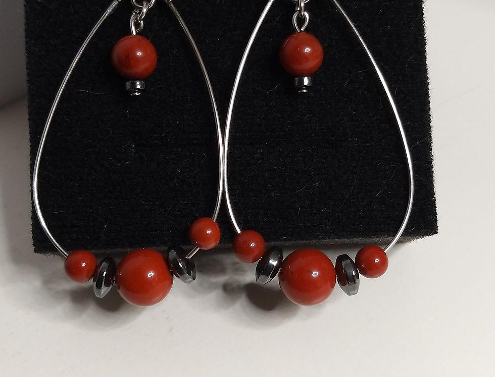 Boucles d'oreilles  jaspe rouge  et hématite