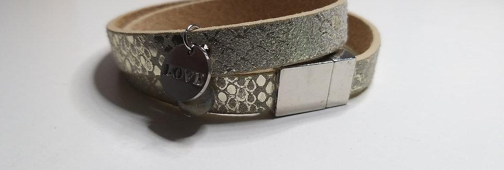 Bracelet double cuir, perle de Labradorite et pendentif LOVE