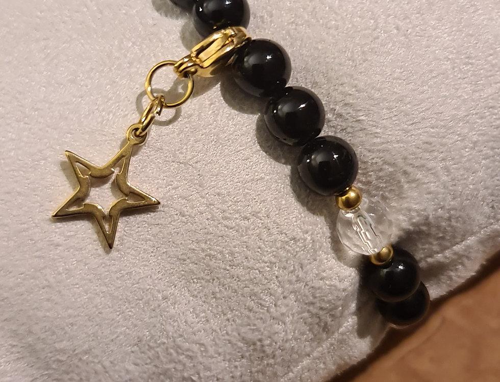 Bracelet  tourmaline  et cristal de roche
