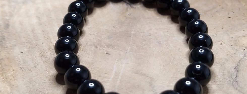 Bracelet Obsidienne noire.  8mm/6mm