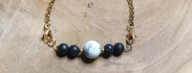 Bracelet pierre de lave et Howlite