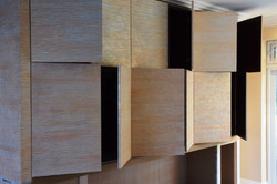 Large bank of MDF cupboards