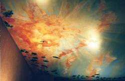 Mural sky sunburst