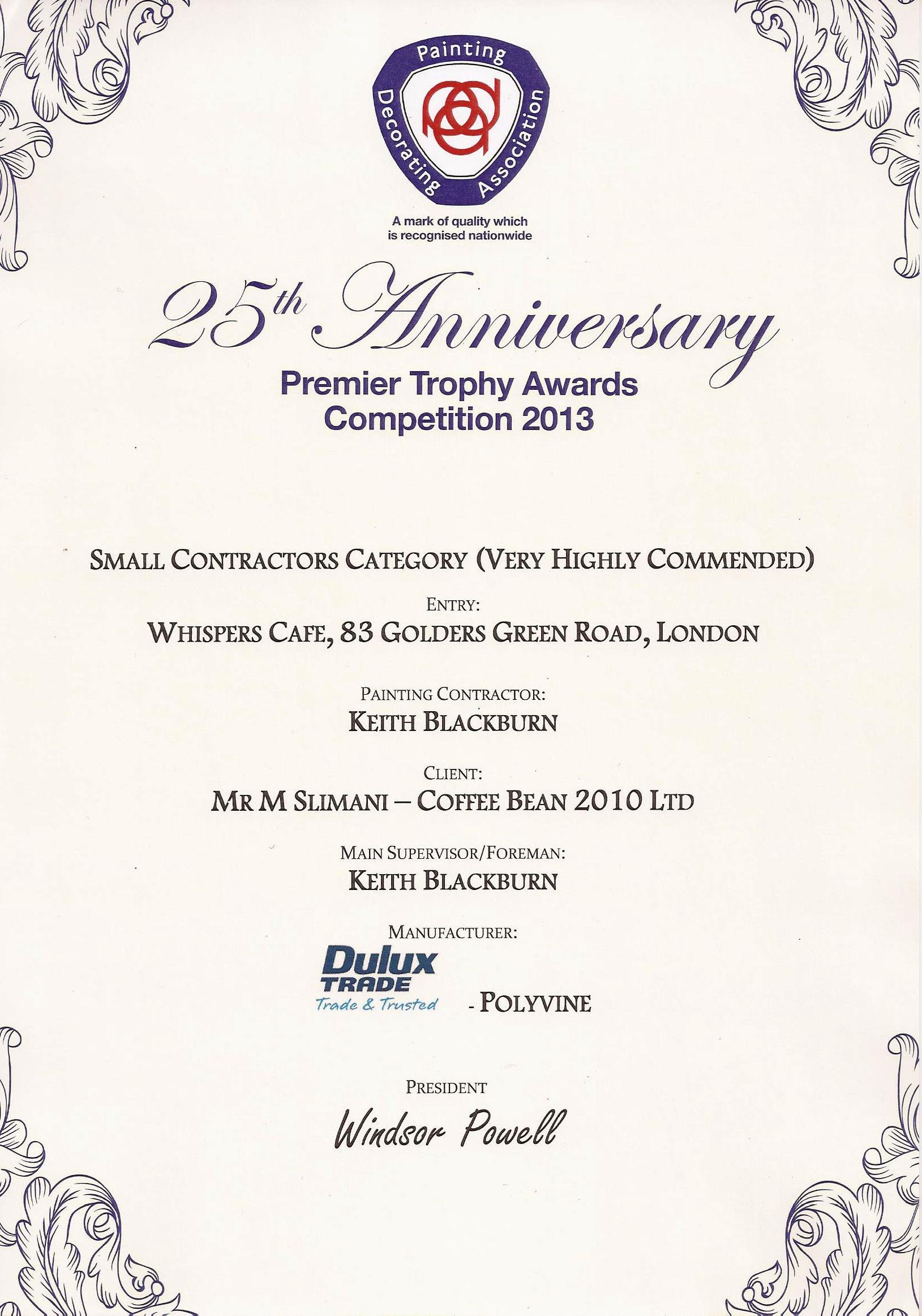 The award certificate.