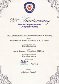 The award certificate.